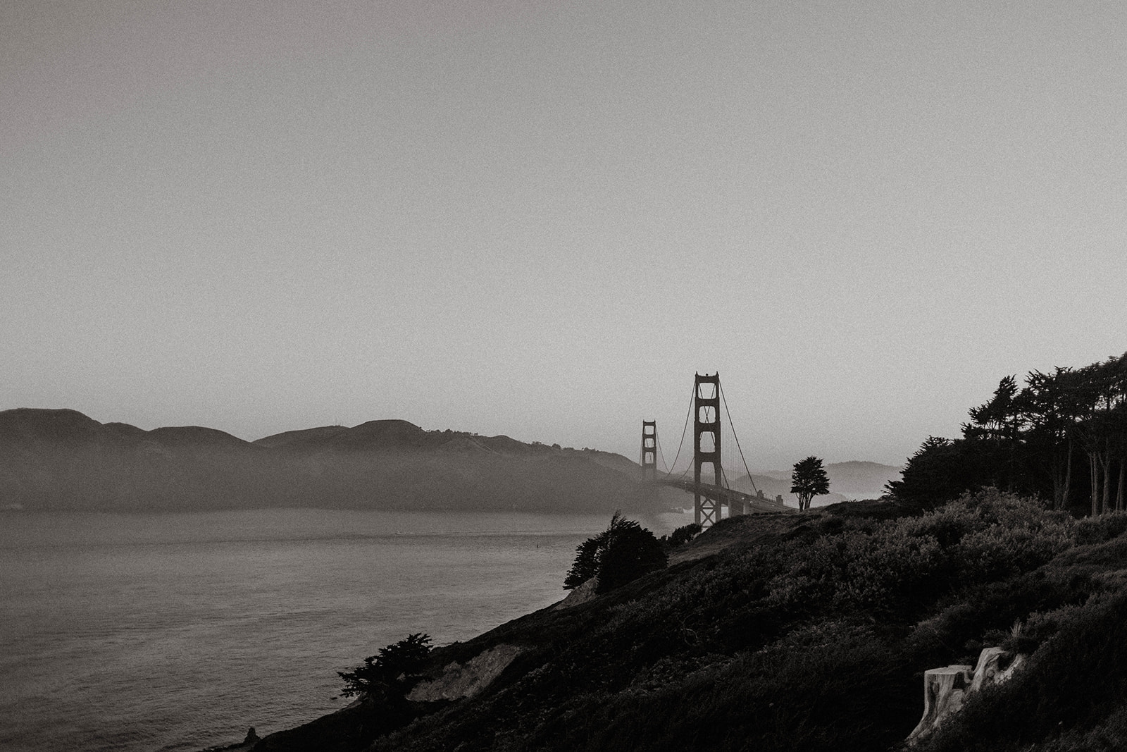 San Francisco marshall's beach golden gate bridge black and white skyline