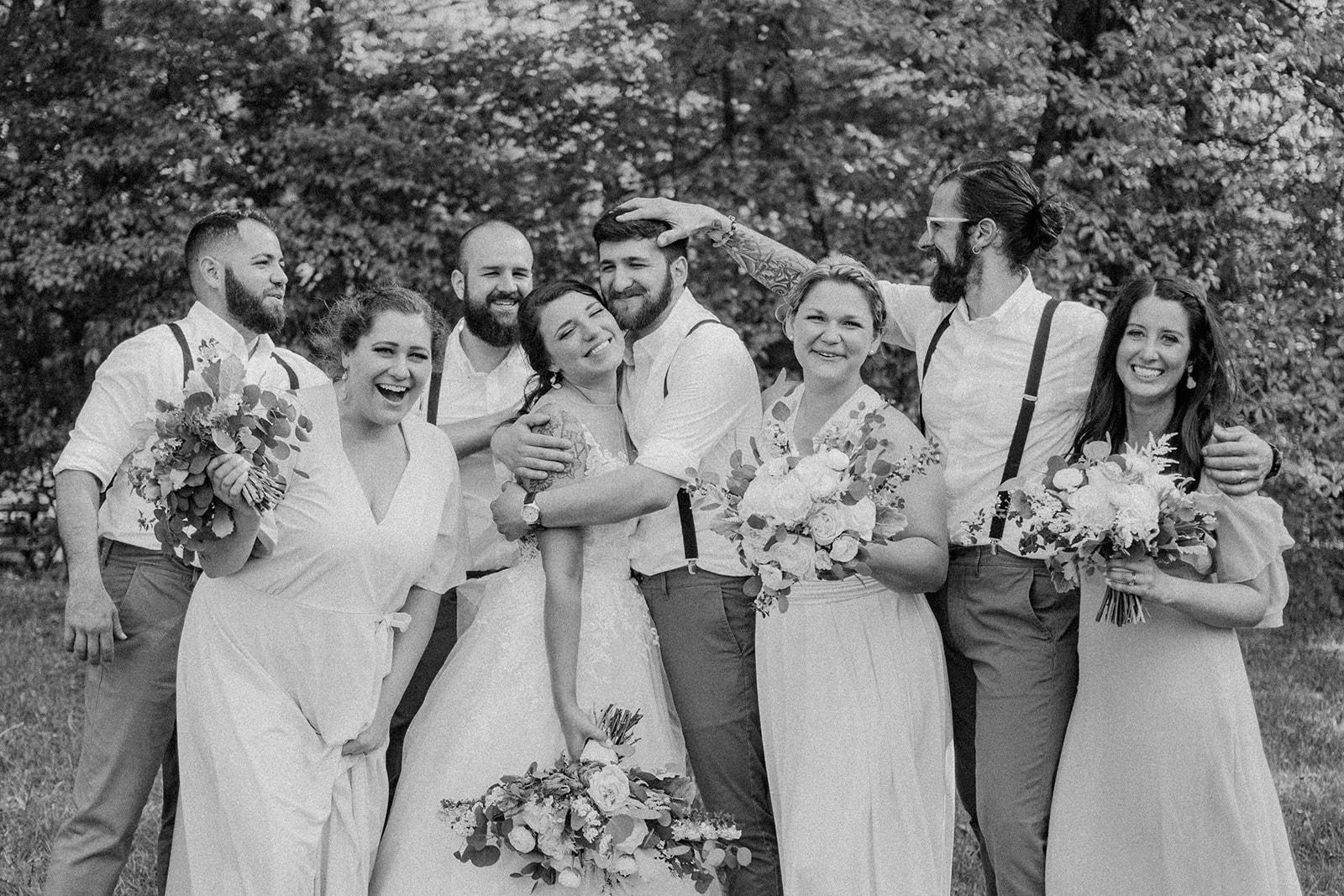 backyard wedding bridal party funny portraits best Pennsylvania wedding photographer